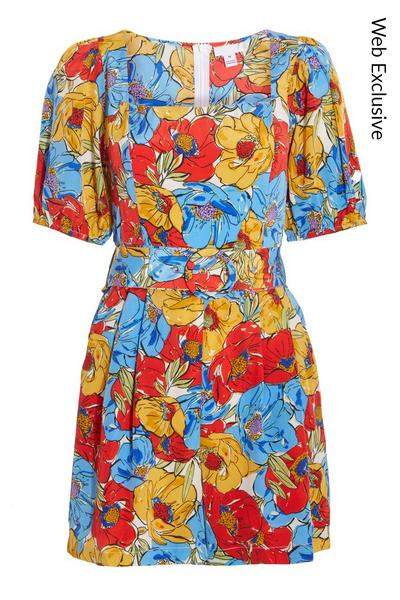 Multicoloured Floral Puff Sleeves Playsuit